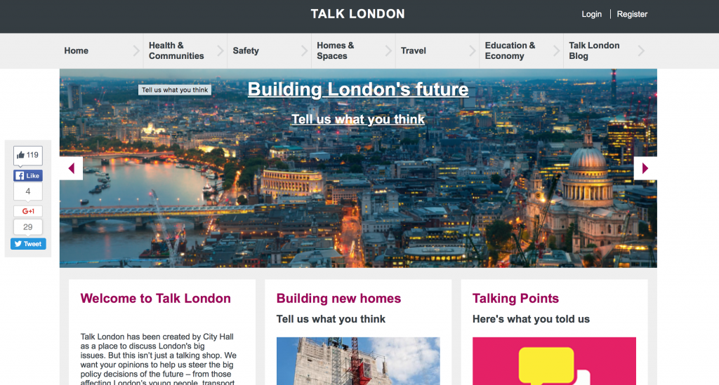 "The Greater London Authority's ""Talk London"" platform."